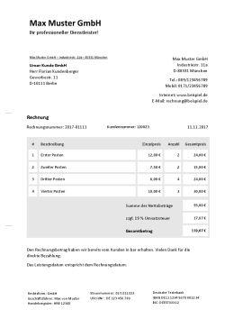 Rechnungsvorlage für Barzahlung